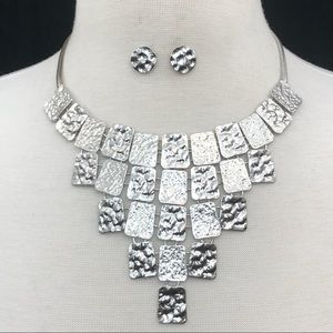 Hammered Tile Silver Bib Necklace Earrings Set